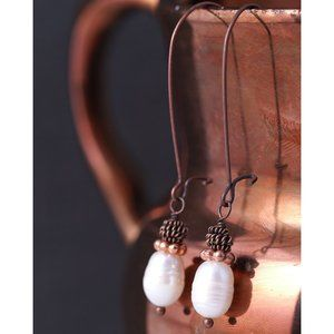 Antique Copper & Natural Freshwater Pearl Earrings